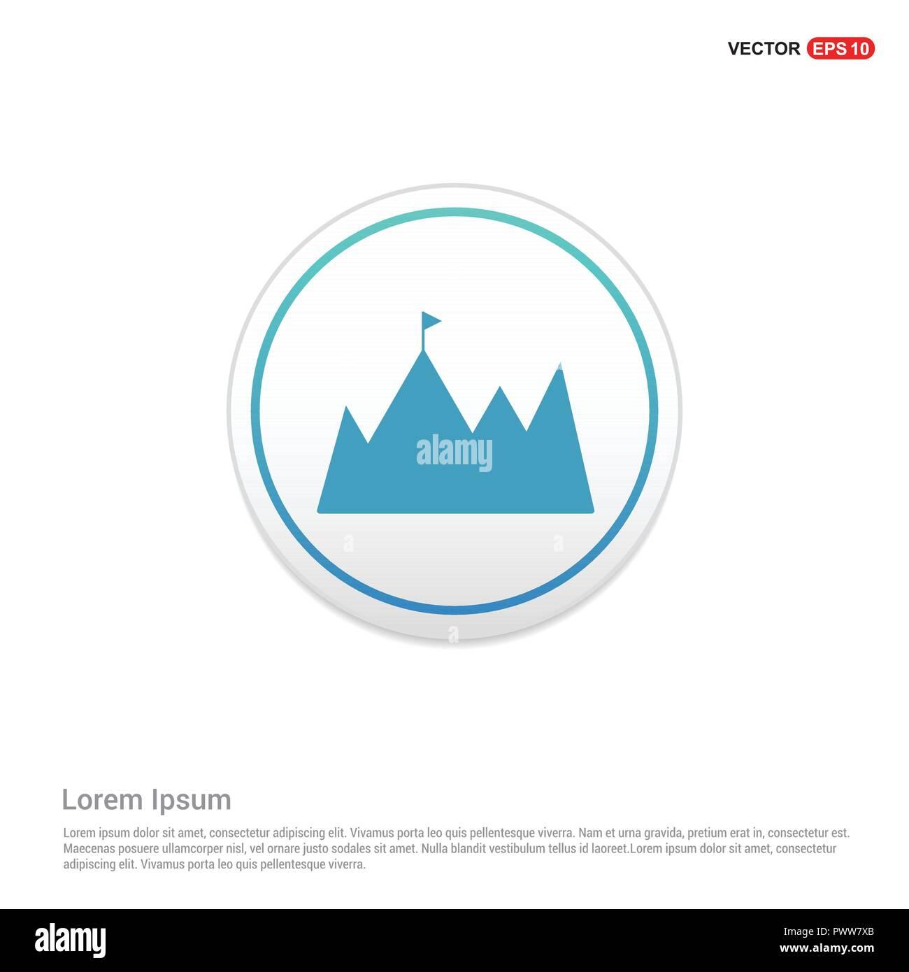 mountain icon - white circle button - Stock Image