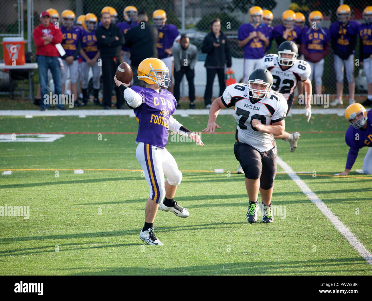 Cretin-Durham Hall High School quarterback winds up to pass ball with White Bear defenseman breathing down his neck. St Paul Minnesota MN USA - Stock Image