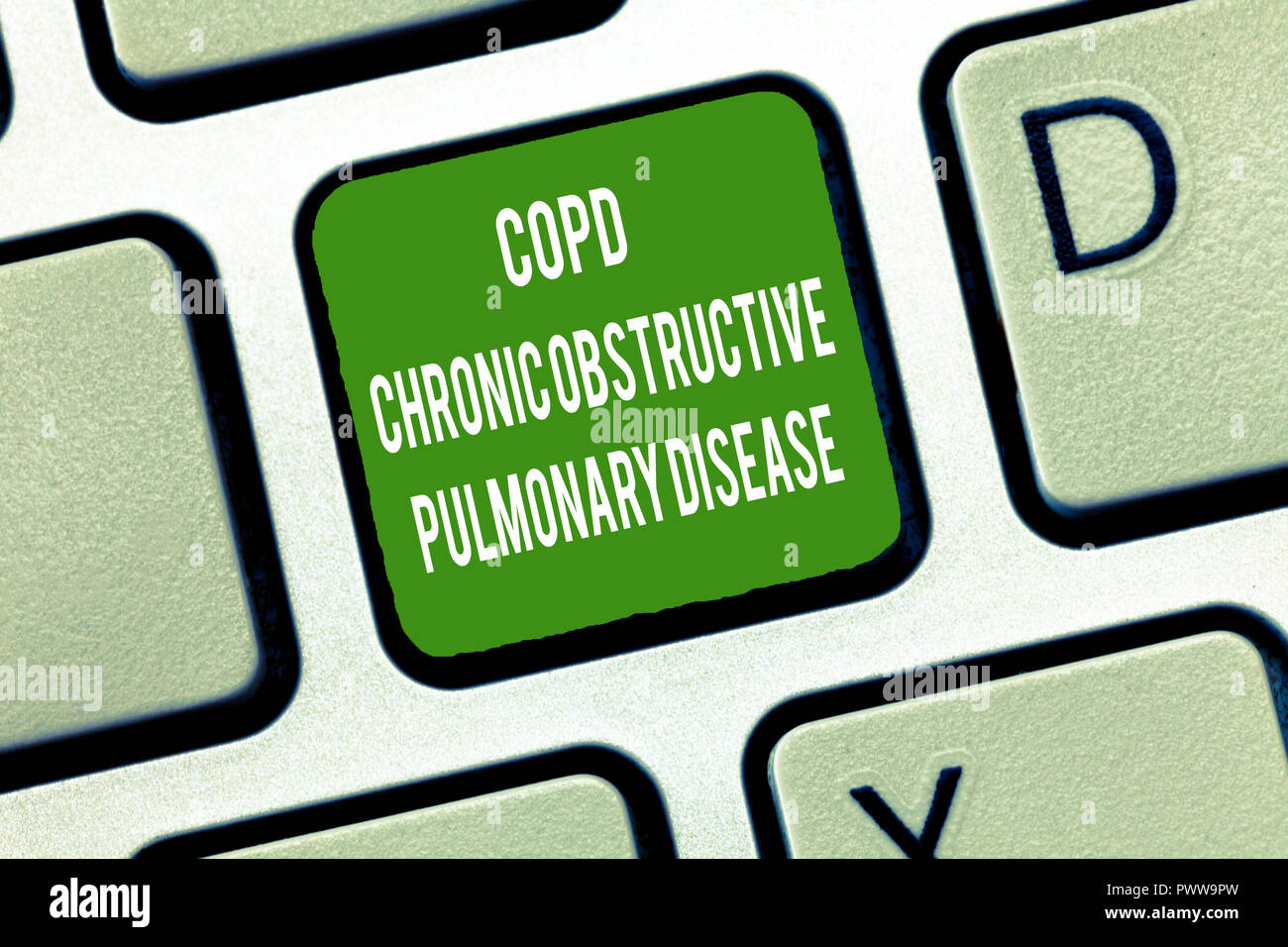 Text sign showing Copd Chronic Obstructive Pulmonary Disease. Conceptual photo Lung disease Difficulty to breath. - Stock Image