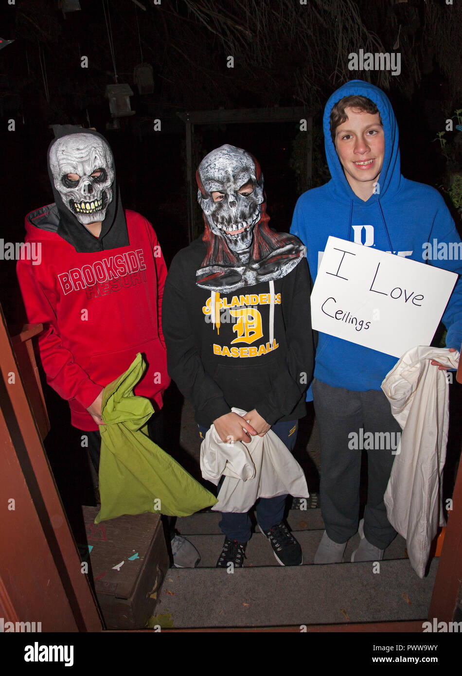 Three young teenage boys in monster skull masks & ceiling lover costumes out for an evening of Halloween tricks or treats.  St Paul Minnesota MN USA - Stock Image