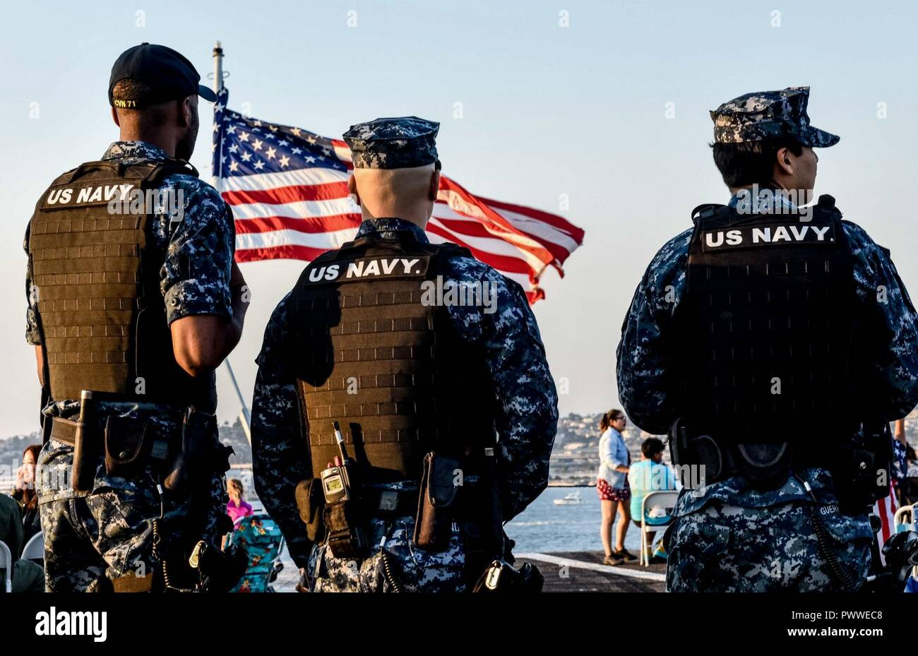 SAN DIEGO (July 4, 2017) Sailors provide security as family