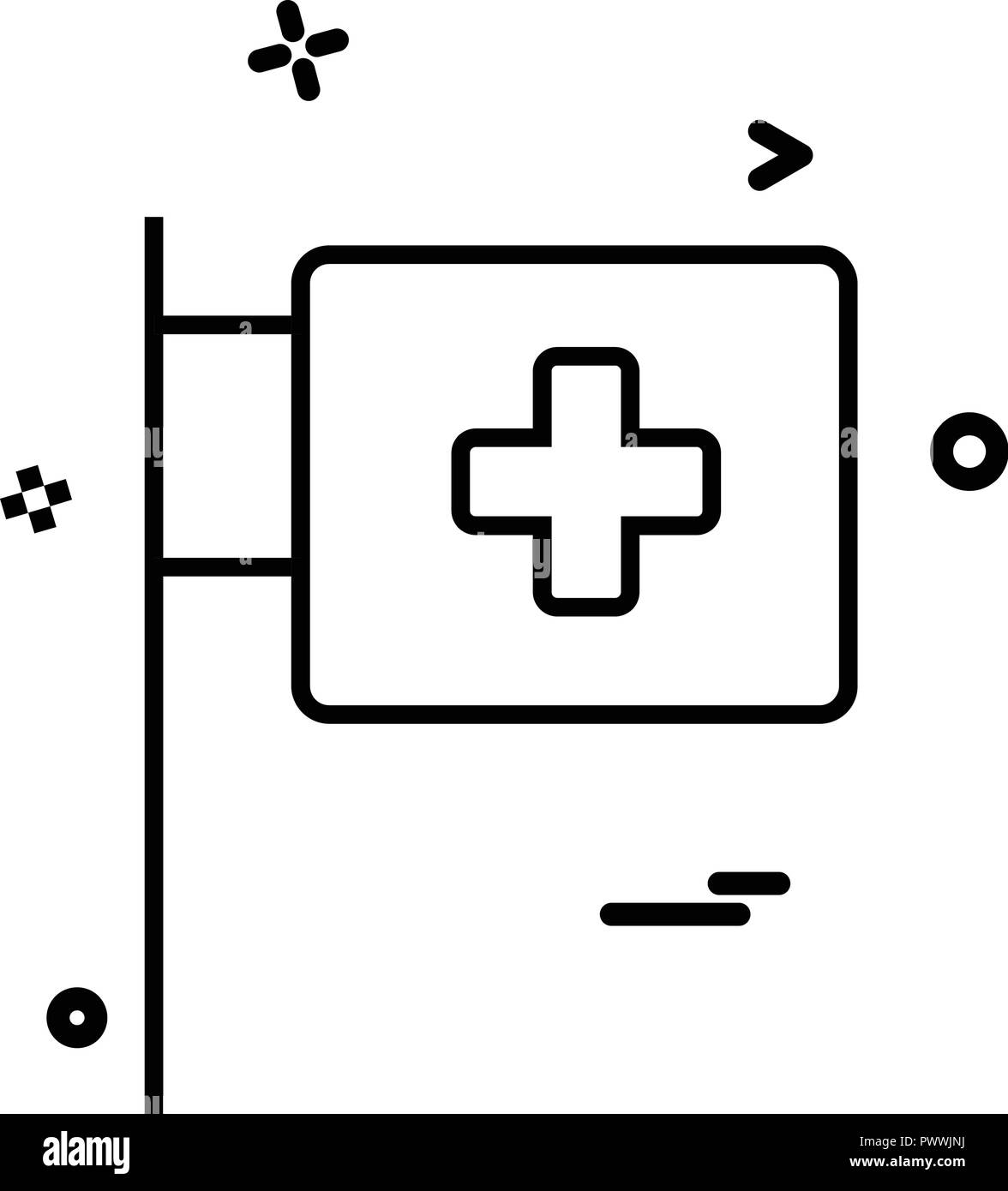 medical hospital flagpole icon vector desige - Stock Image
