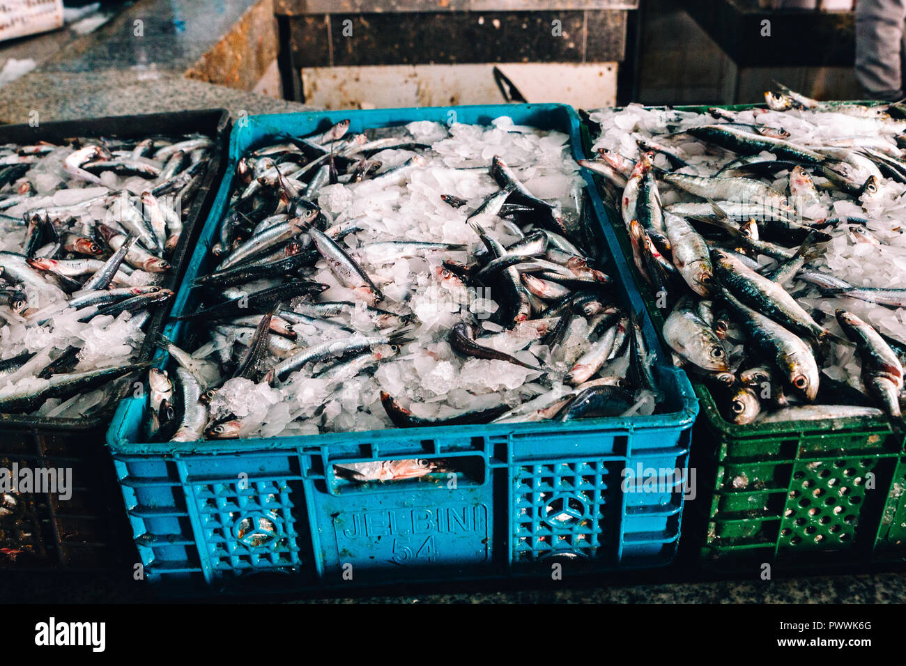 Meat and Fish Market, Tangier, Morocco, 2018 - Stock Image