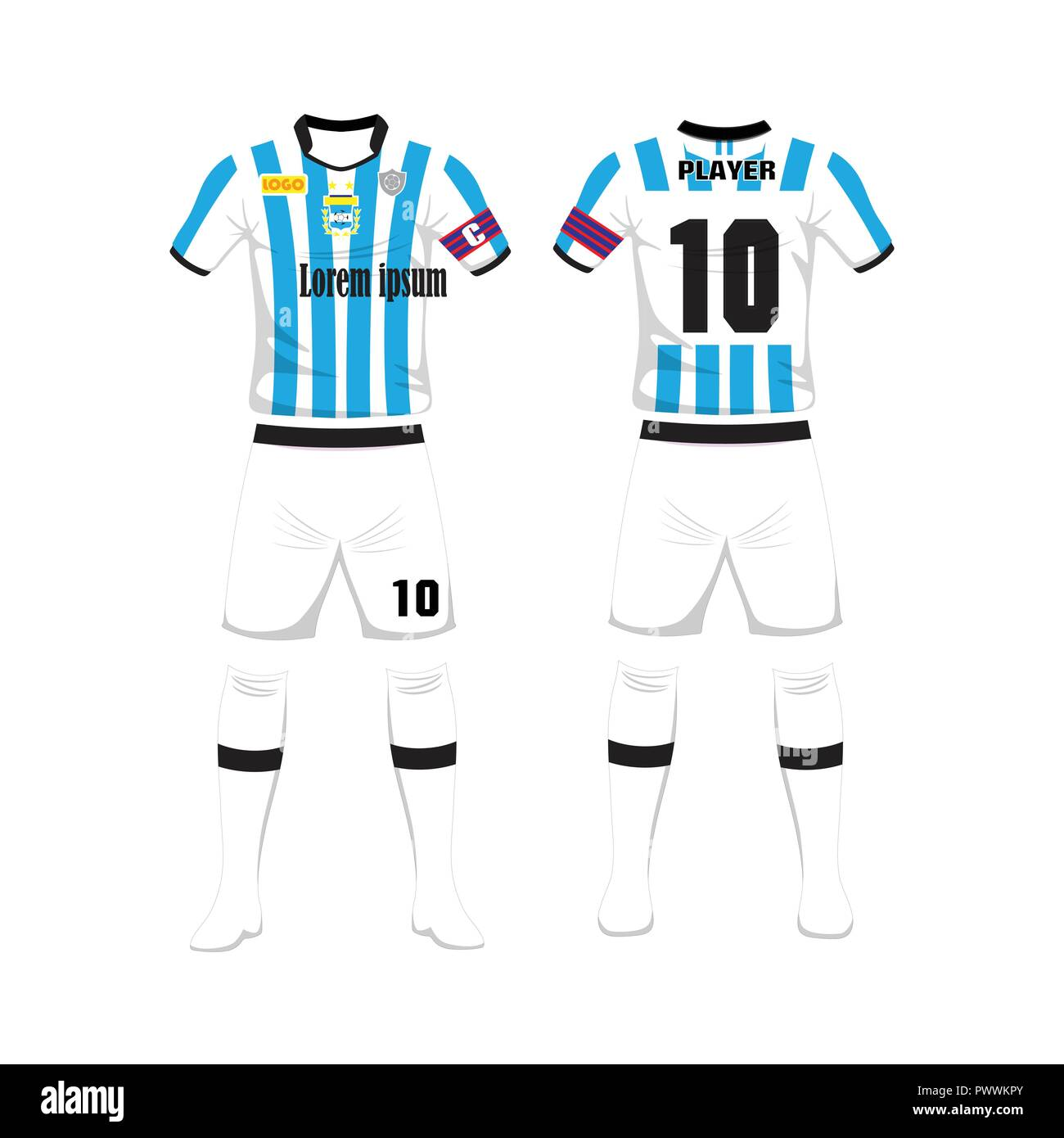 f5b2ca7671a Uniform of football Argentina sport design template.Sport uniform in front  and back view. Vector Illustration on whitebackground.