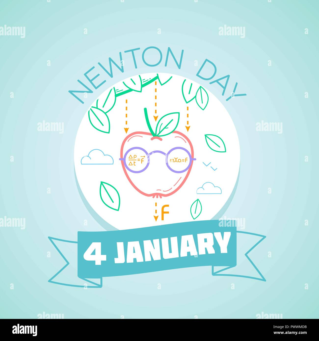 Calendar for each day on January 4. Greeting card. Holiday -  Newton Day. Icon in the linear style - Stock Vector