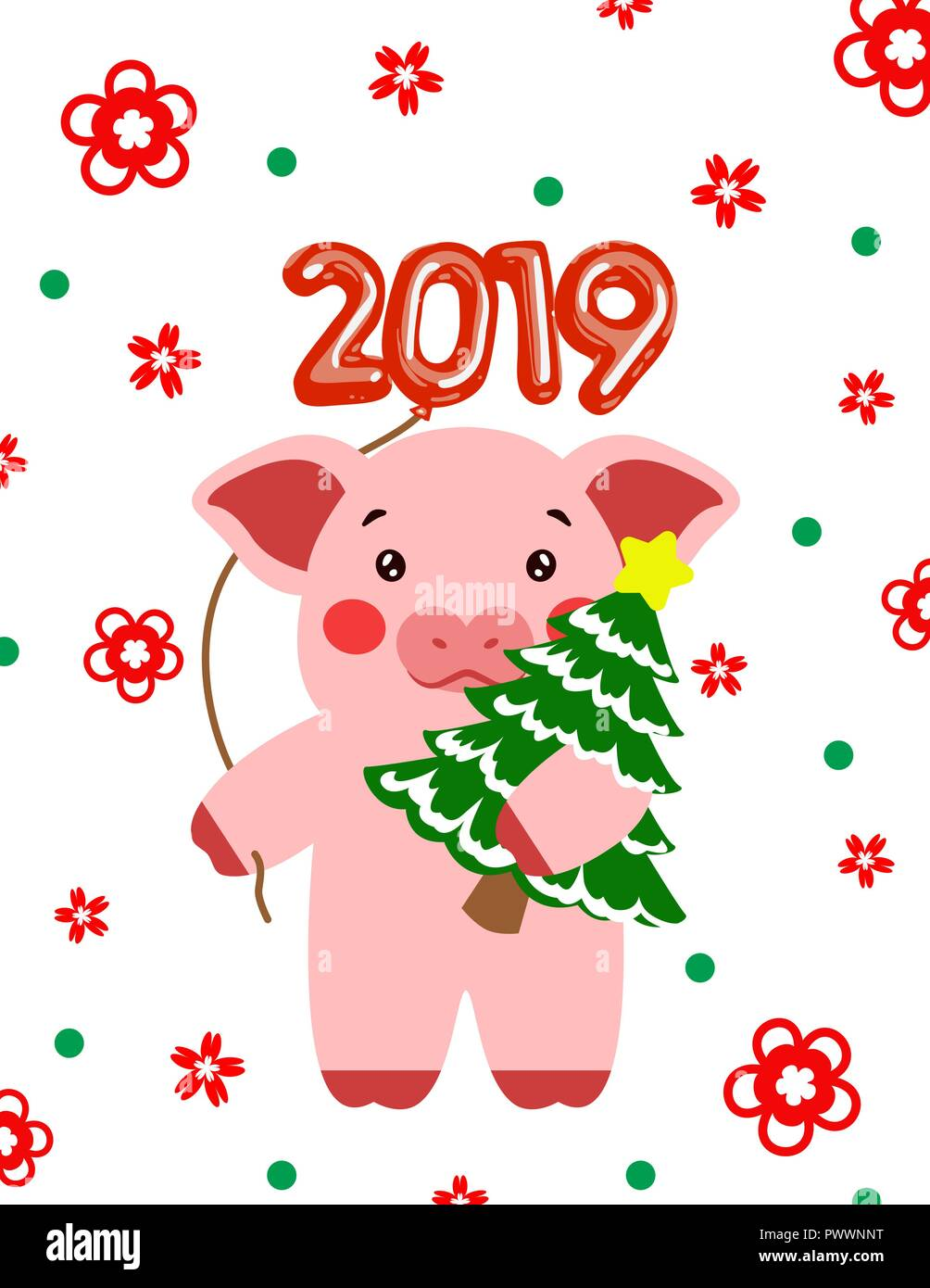 Happy new year cute pig postcard chinese  Symbol of the year 2019