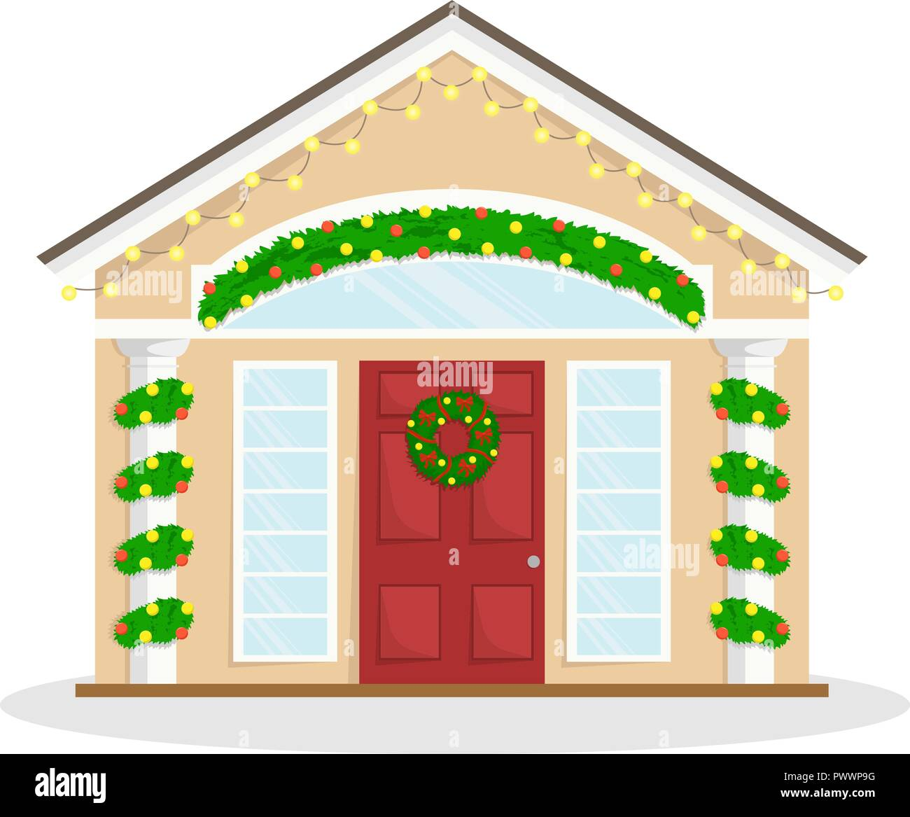 Christmas house with New Year decoration. Winter holidays. Christmas wreath. Flat winter vector illustration. Stock Vector