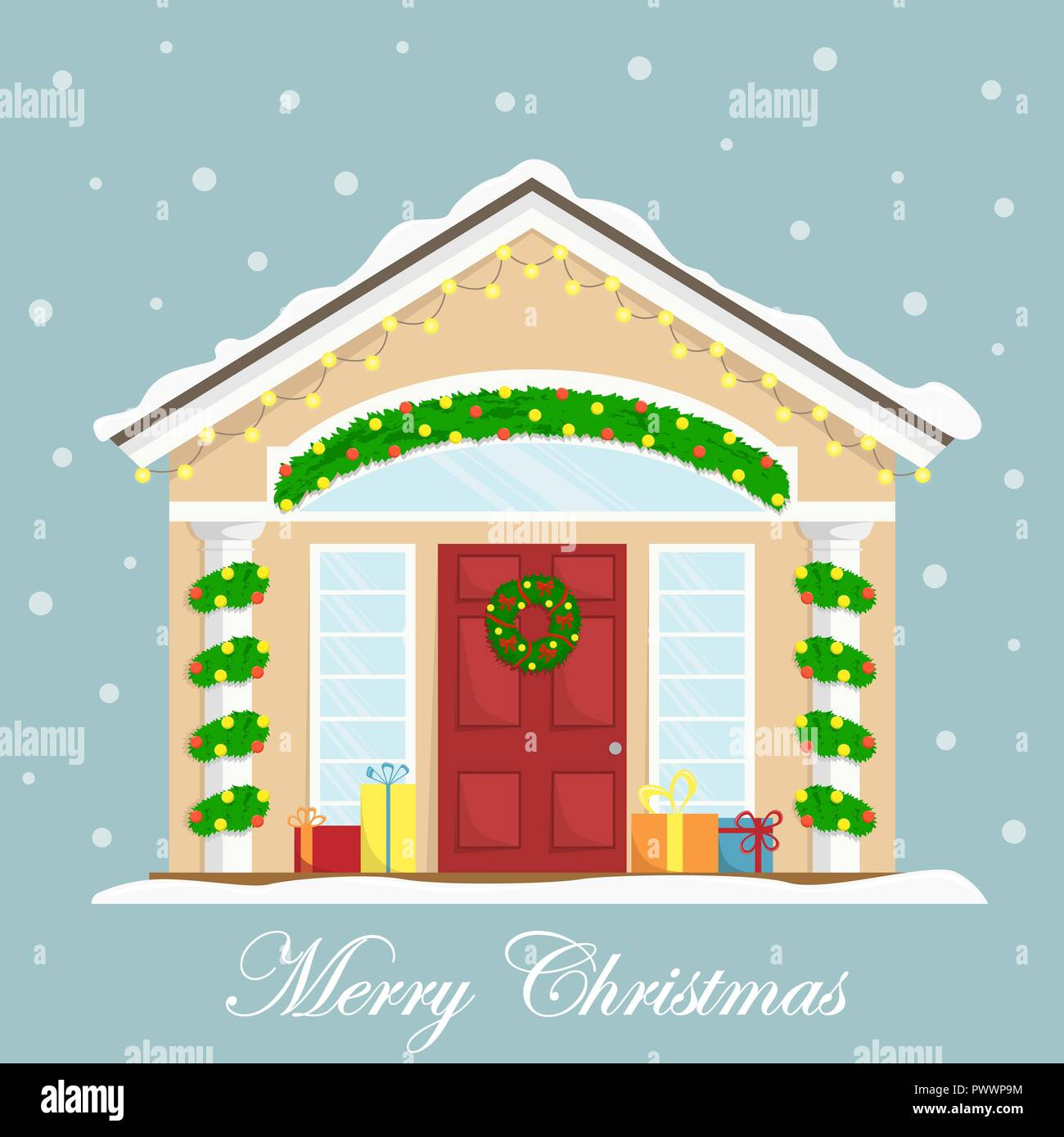 christmas house with new year decoration winter holidays christmas wreath flat winter vector illustration greeting card