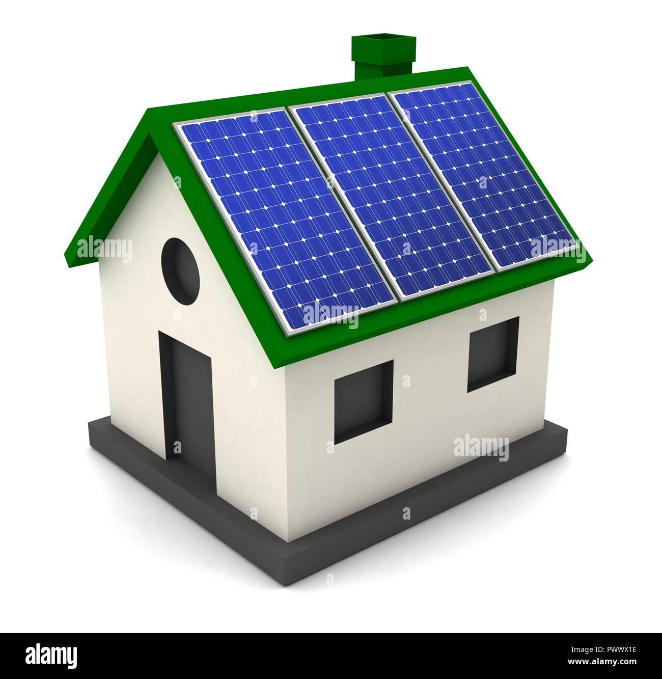 solar panel concept 3d illustration isolated on white background - Stock Image