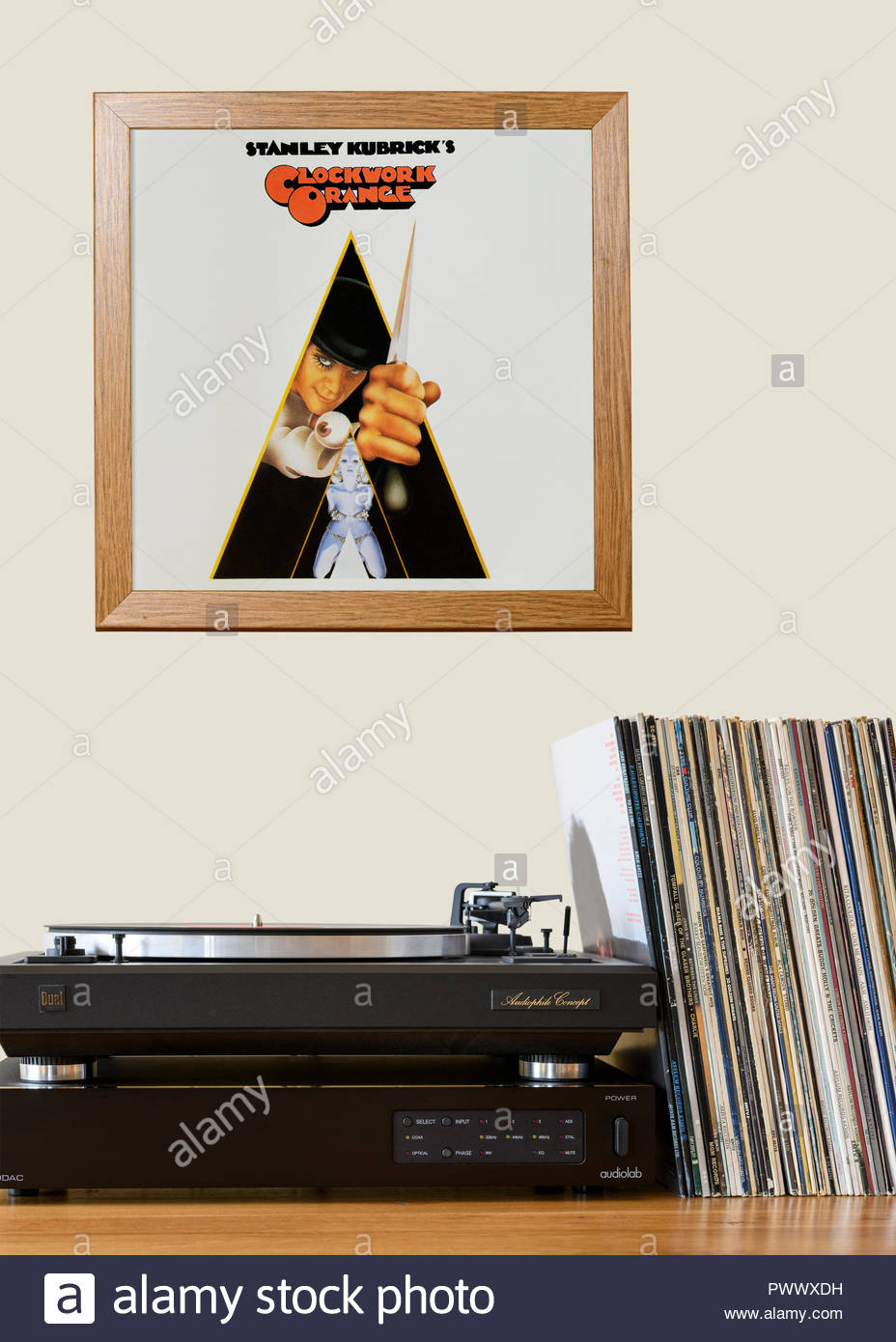 Record player and framed album cover Sound track from the film A ...