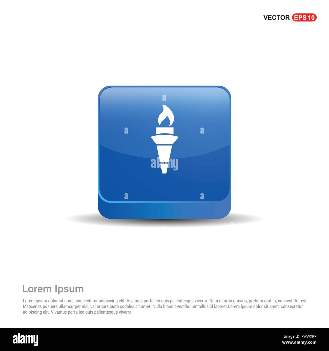 Olympic Torch Icon - 3d Blue Button. - Stock Vector