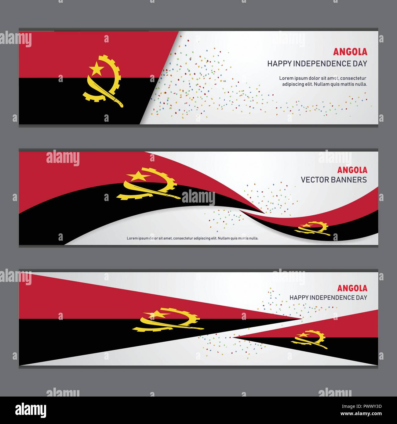 Angola independence day abstract background design banner and flyer, postcard, landscape, celebration vector illustration - Stock Image