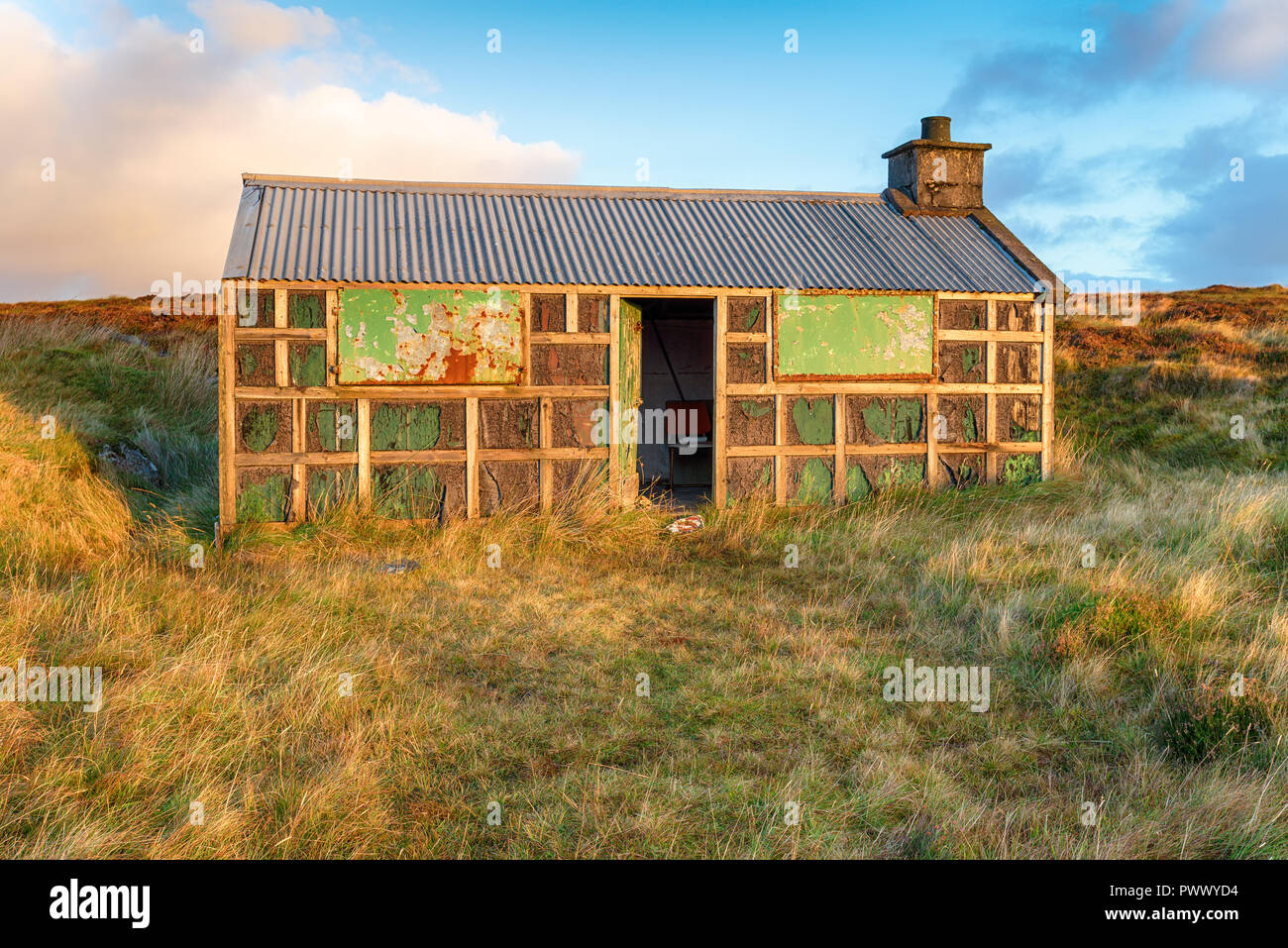 An old shieling or shepherds hut on the Isle of Lewis in Scotland Stock Photo