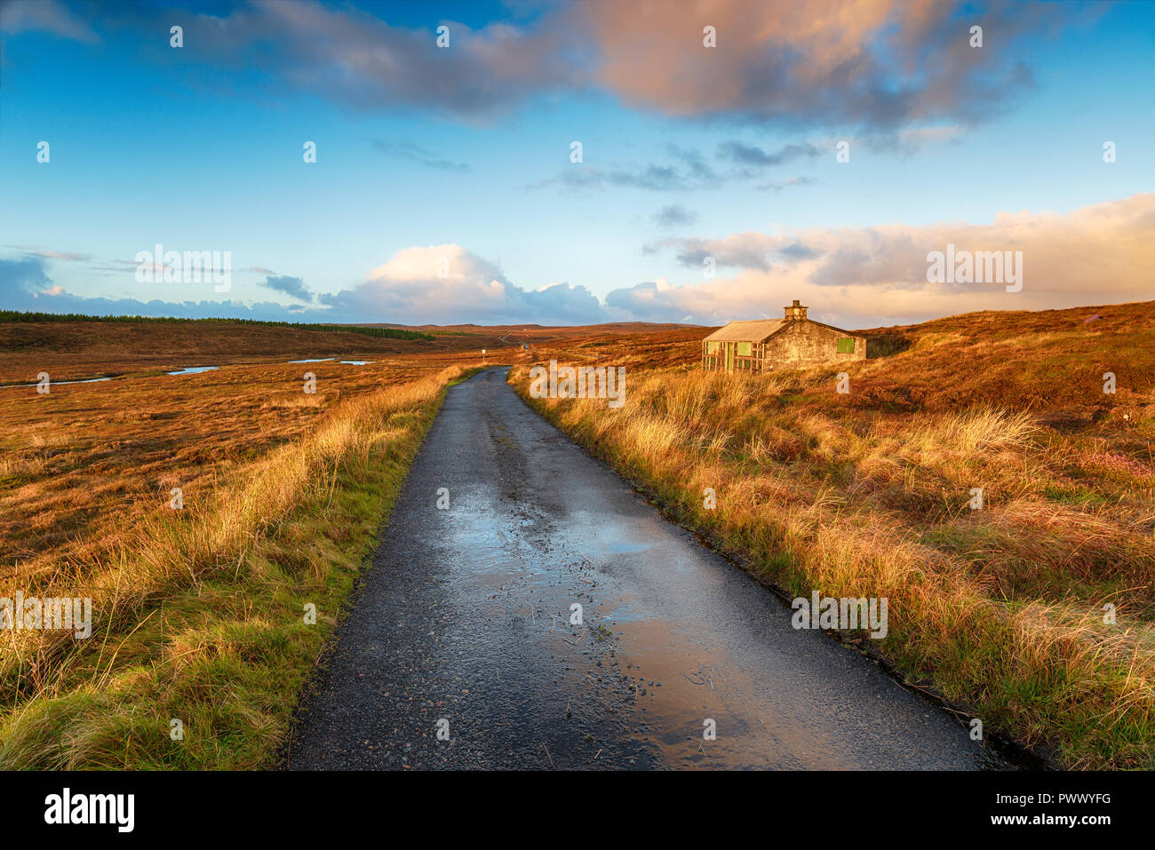 A single track road over a peat bog and past a shieling hut near Stornoway on the Isle of Lewis in the Outer Hebrides in Scotland - Stock Image