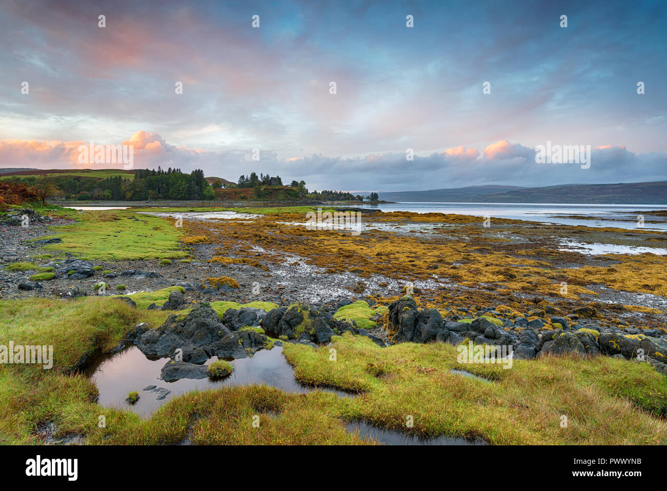 Sunset over the Sound of Mull near Salen on the Isle of Mull in Scotland - Stock Image