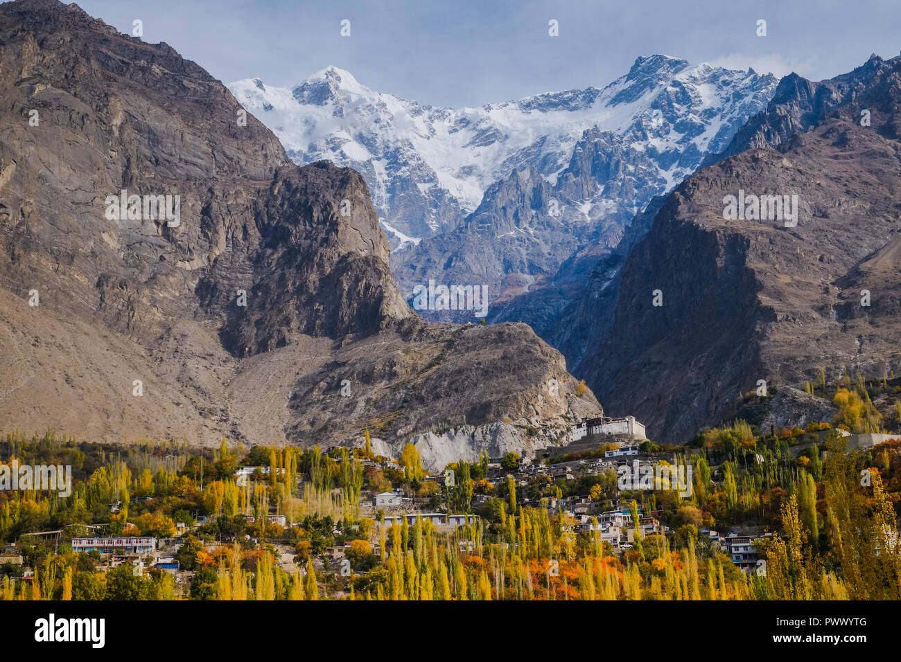 Autumn scene in Hunza valley with a view of Baltit fort. Karimabad, Hunza, Gilgit-Baltistan, Pakistan. - Stock Image