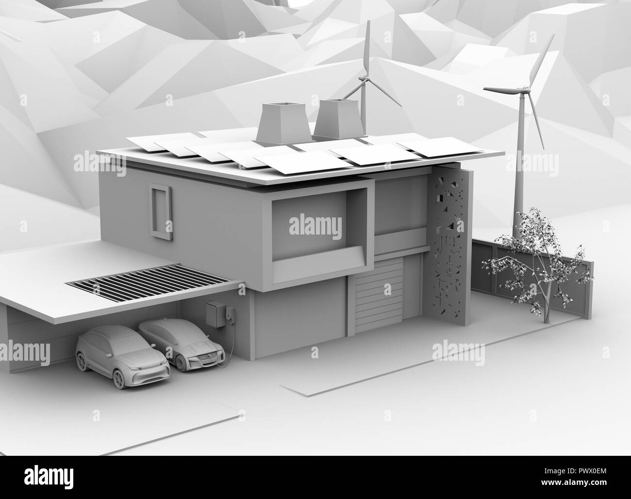Clay rendering of electric vehicle recharging in garage. The smart home powered by solar panels and wind turbine. 3D rendering image. - Stock Image