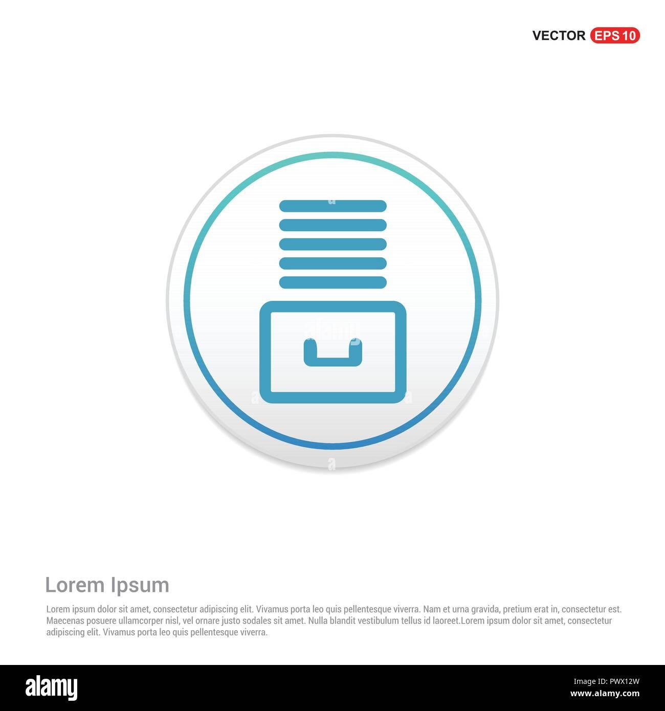 File Stack Icon - white circle button - Stock Image