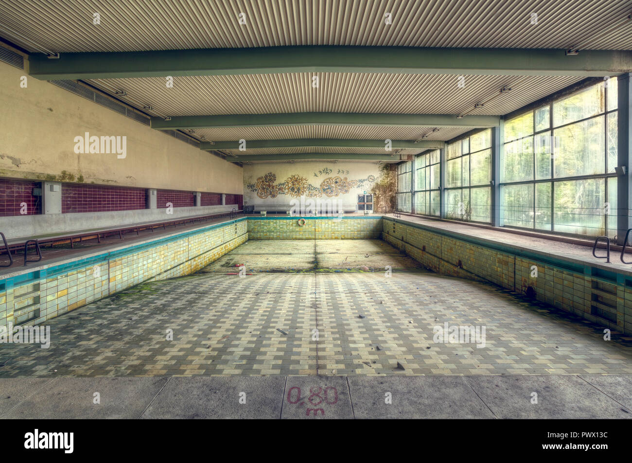 Interior View Of An Empty Swimming Pool In An Abandoned Hotel In Germany Stock Photo Alamy