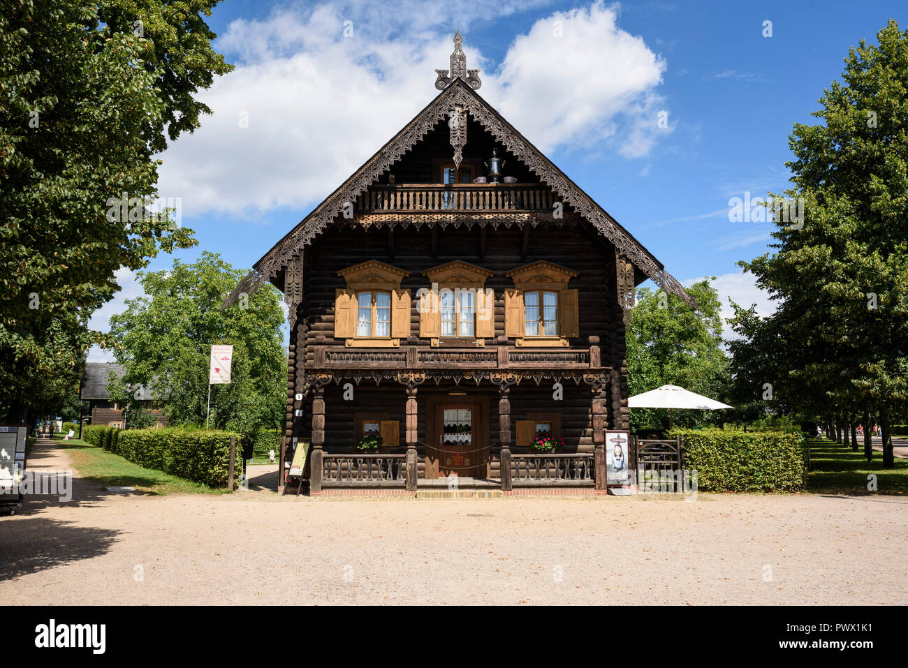 Potsdam. Berlin. Germany. Traditional Russian timber house in the settlement of Alexandrowka, a 19th century Russian colony in Potsdam. House No. 1, s - Stock Image