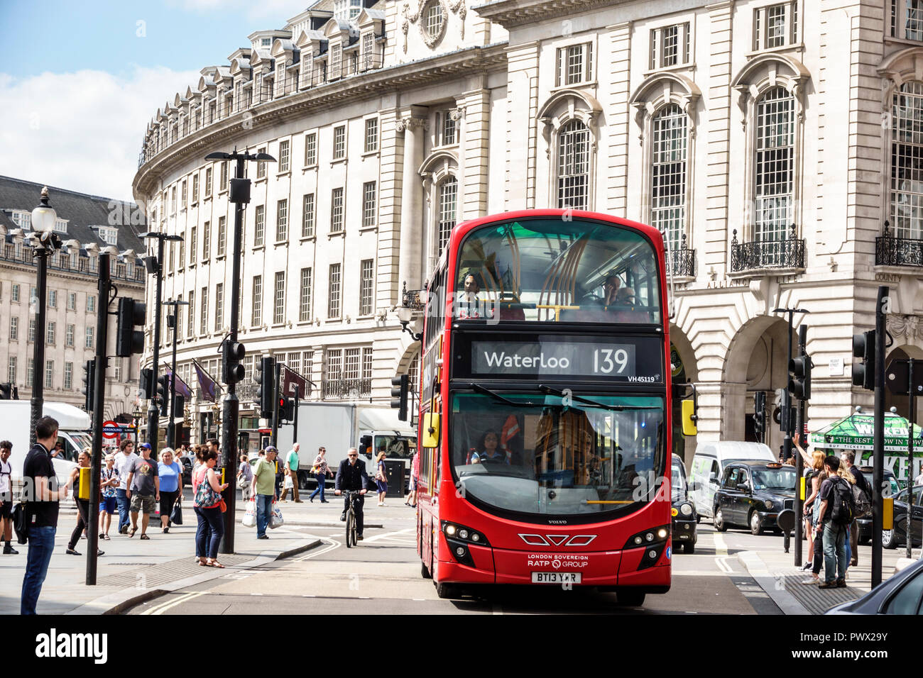 London England United Kingdom Great Britain West End Piccadilly Circus St Jamess Regent Street Red Double Decker Bus Public Transportation Pedestria