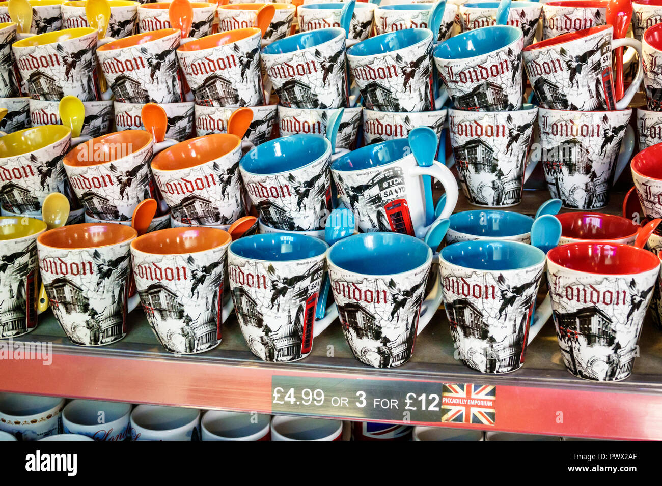 London England United Kingdom Great Britain West End Piccadilly Circus St. James's Little Britannia souvenir shop store shopping coffee tea mugs - Stock Image