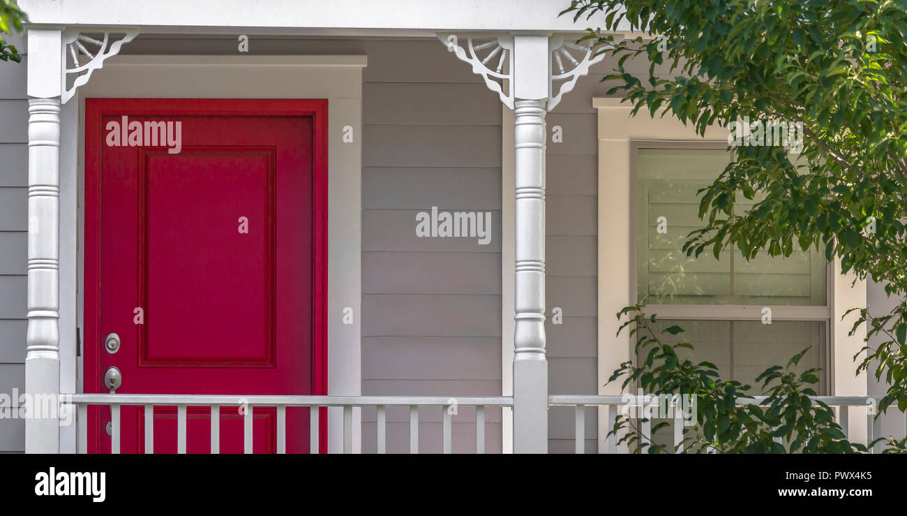 red door and sliding window of a home with balcony stock photo rh alamy com