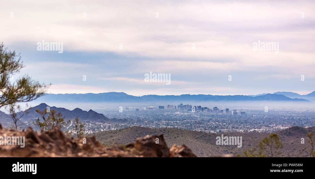 Scenic view of the populous Phoenix in Arizona - Stock Image