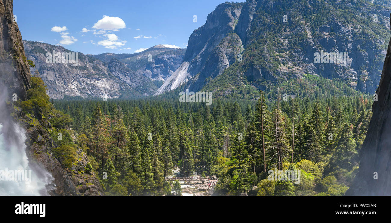 Scenic view of trees and cliff at Yosemite Falls Stock Photo