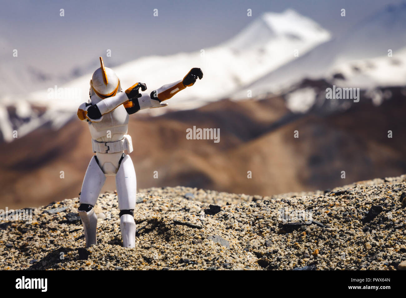 Star Wars Clone Trooper doing the dab at the Pangong Lake in
