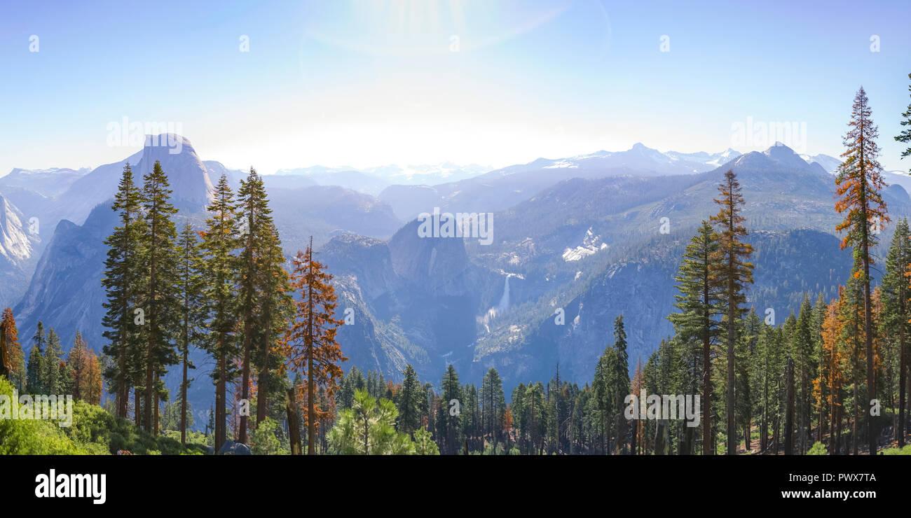 Towering trees and vast mountain at Yosemite CA - Stock Image
