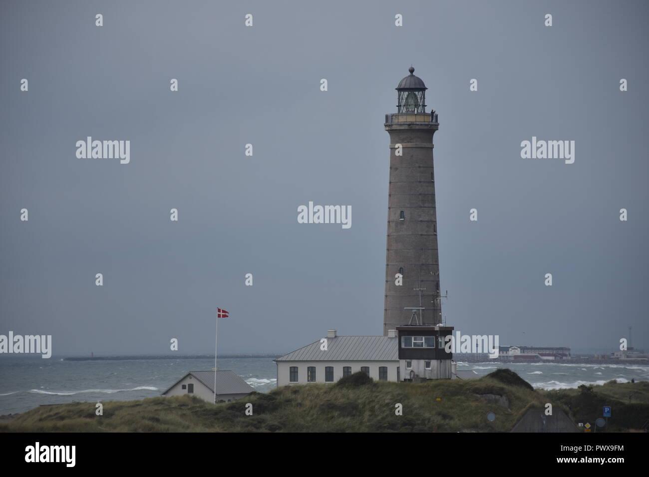 Dänemark, Skagen, Leuchtturm, Turm, Grauer Turm, Schifffahrt, Sicherheit, Verkehr, Nordjylland, Frederikshavn, Skagerrak, Gränen, Kattegat, Landspitze - Stock Image