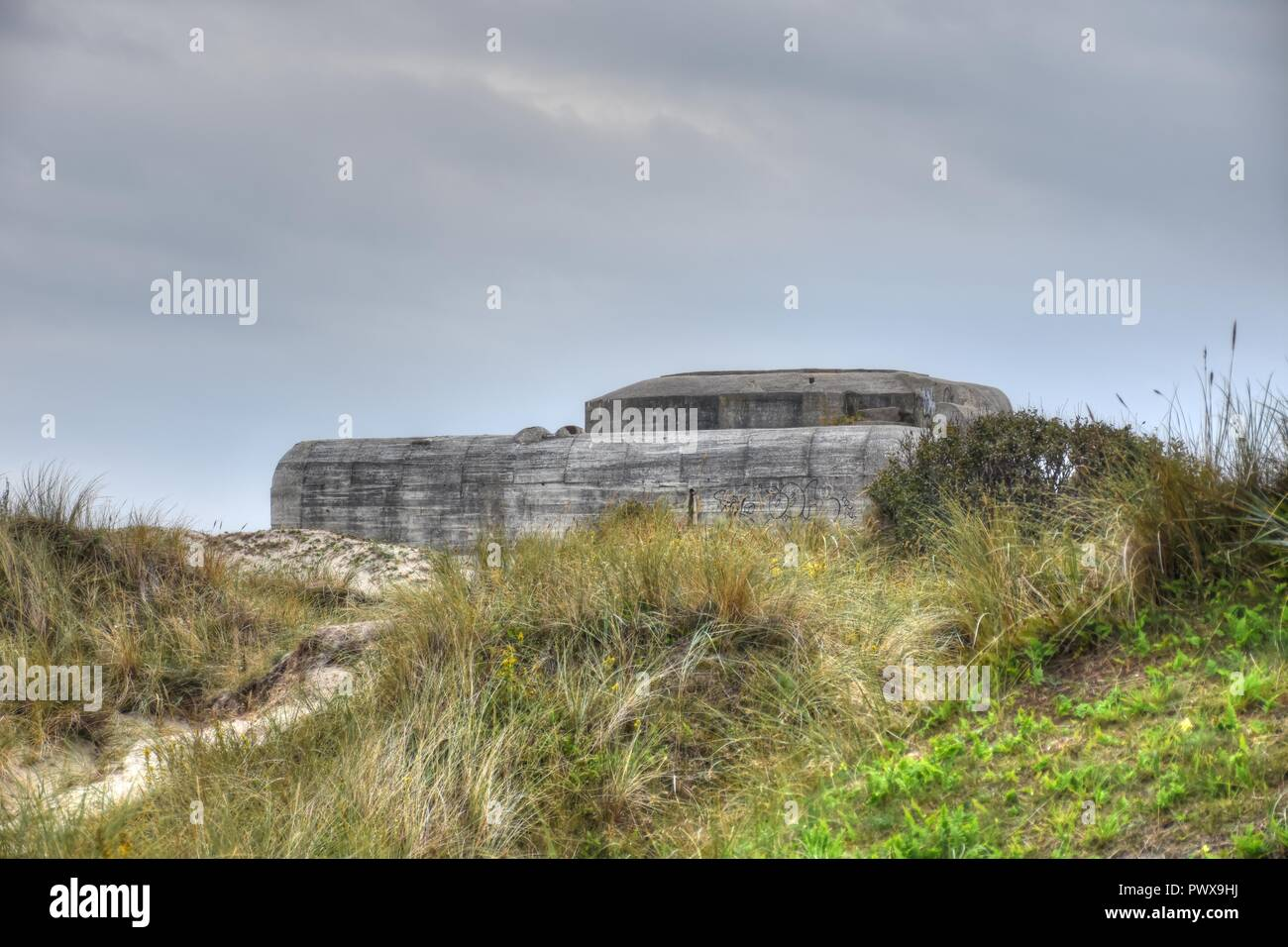 Dänemark, Skagen, Bunker, Ruine, Festung, Weltkrieg, Regelbau 638, Atlantikwall, Nordjylland, Frederikshavn, Skagerrak, Gränen, Kattegat, Landspitze - Stock Image