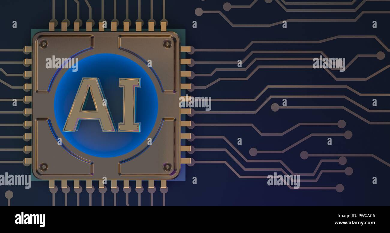 Artificial Intelligence Symbol On Circuit Board 3d Rendering Stock