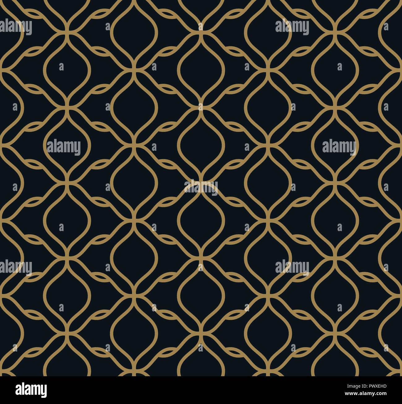 Seamless Pattern Of Intersecting Thin Gold Lines On Black
