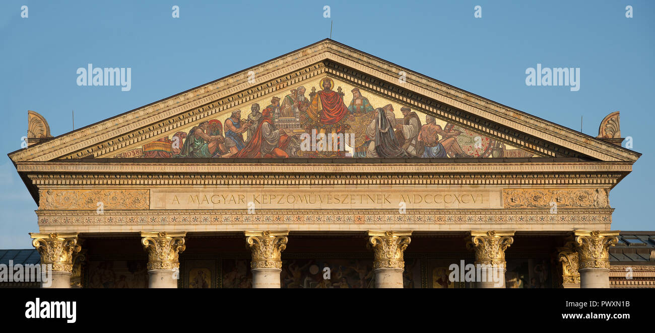Budapest, Hungary - 8 august 2018:detail of Art Gallery Mucsarnok in Heroes Square. Stock Photo