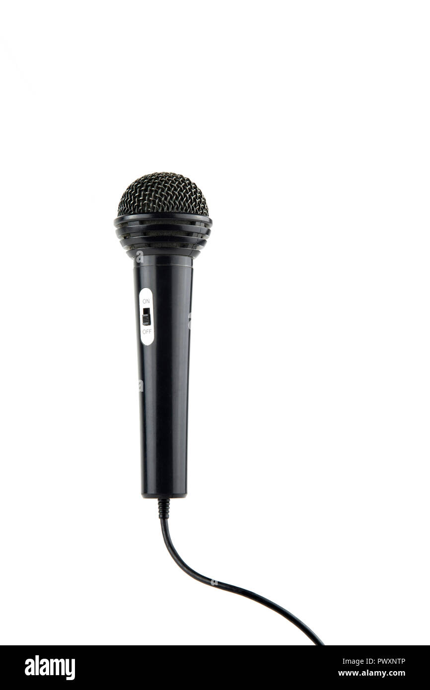 black microphone with cable and on-off switch - Stock Image