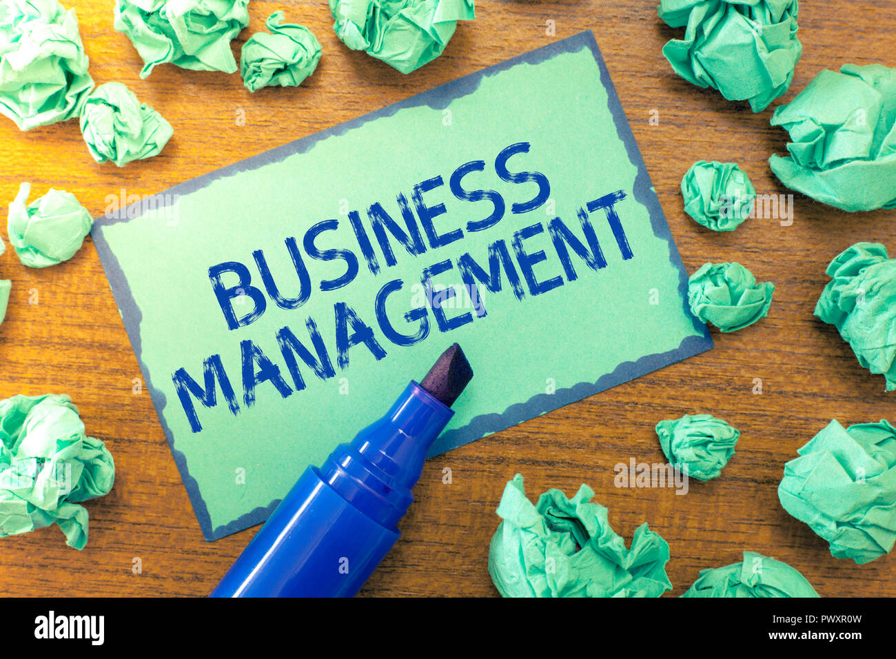 Handwriting text Business Management. Concept meaning Overseeing Supervising Coordinating Business Operations. - Stock Image