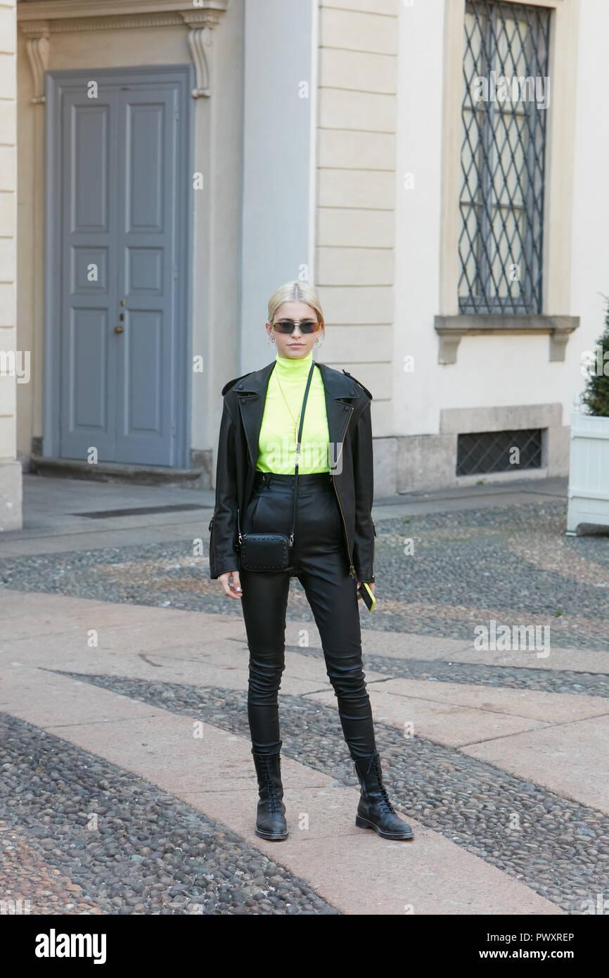 MILAN, ITALY - SEPTEMBER 21, 2018: Caroline Daur before Tods fashion show, Milan Fashion Week street style Stock Photo