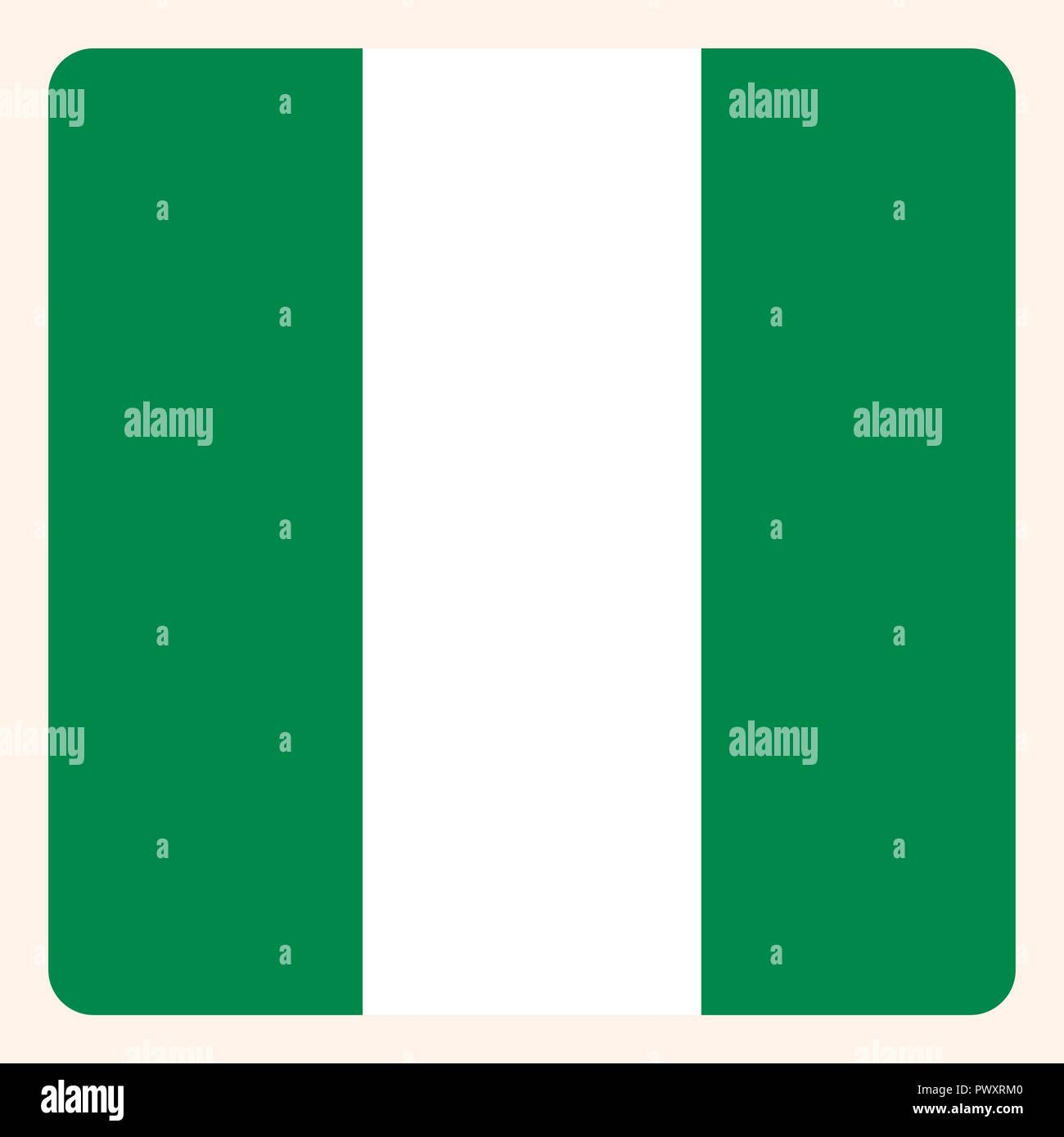 Nigeria square flag button, social media communication sign, business icon. - Stock Vector