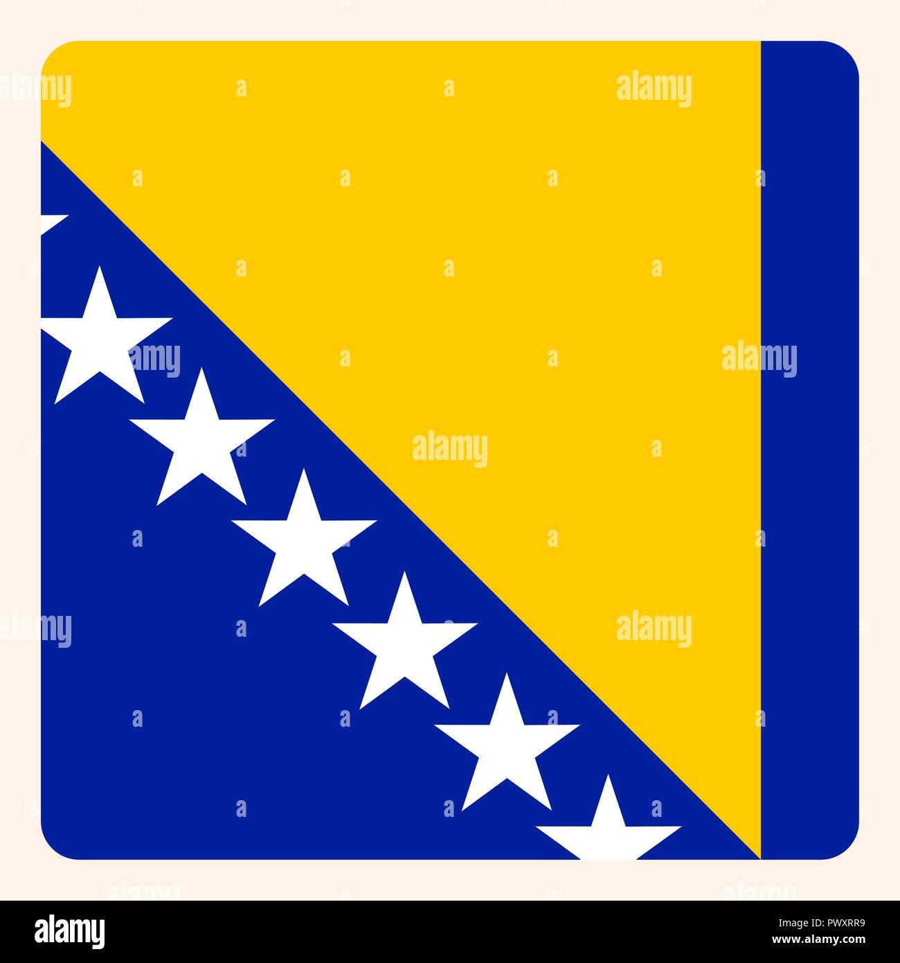 Bosnia, Herzegovina square flag button, social media communication sign, business icon. - Stock Vector