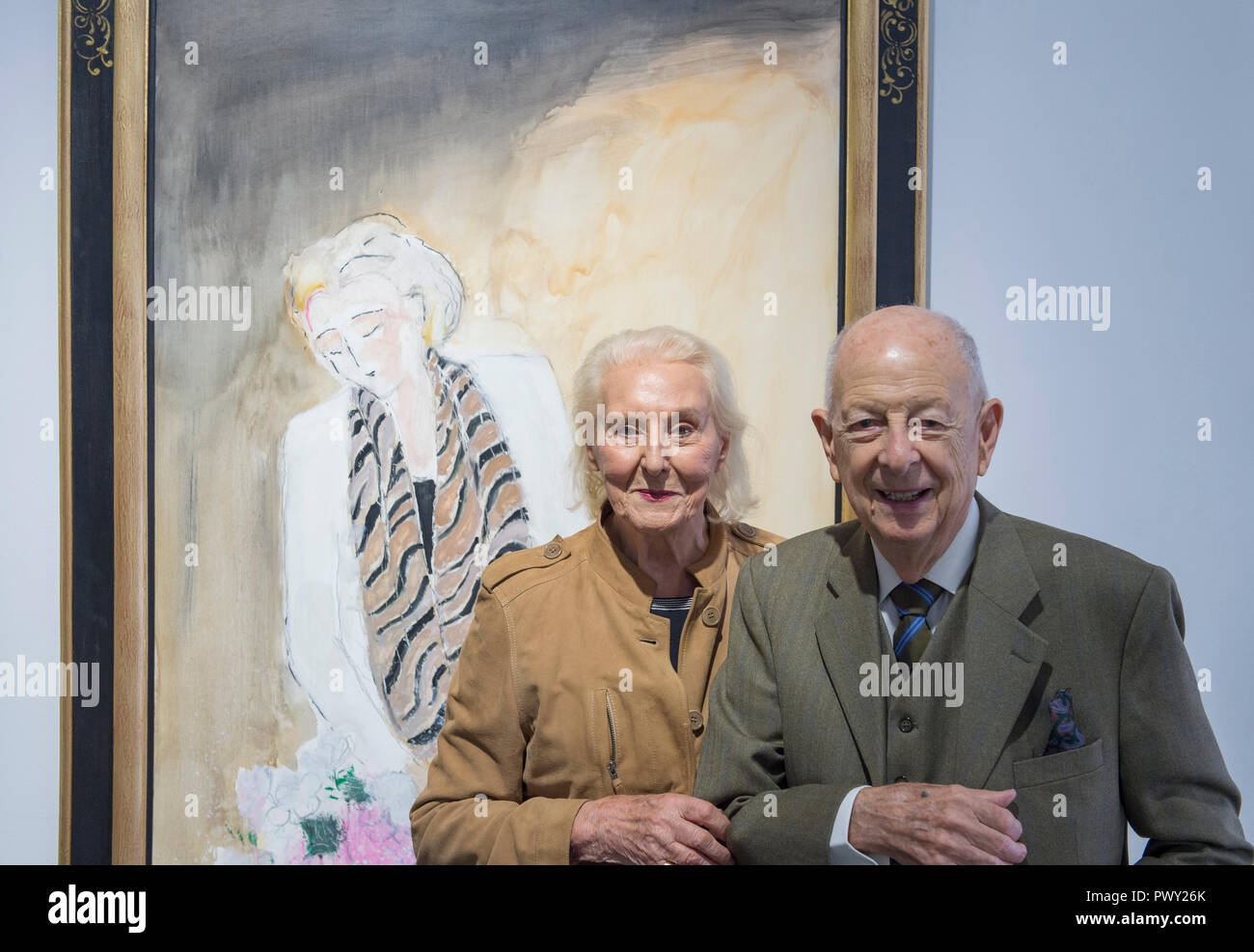 Opera Gallery, New Bond Street, London, UK. 18 October, 2018. 90 year old French fauvist artist André Brasilier attends the opening of a retrospective exhibition of his work, accompanied by his wife and muse, Chantal. Brasilier was the first ever artist to win the Prix de Rome, he was greatly admired by Marc Chagall, and he counted Jacqueline Roque as one of his good friends. However, much like Leon Kossoff, Brasilier has always kept a low profile. Image: Bouquet d'anniversaire, 2018. Credit: Malcolm Park/Alamy Live News. - Stock Image