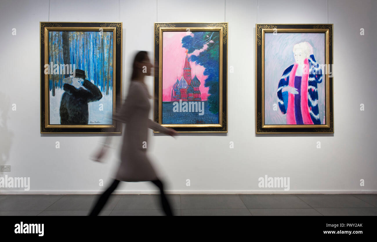 Opera Gallery, New Bond Street, London, UK. 18 October, 2018. 90 year old French fauvist artist André Brasilier attends the opening of a retrospective exhibition of his work, accompanied by his wife and muse, Chantal. Brasilier was the first ever artist to win the Prix de Rome, he was greatly admired by Marc Chagall, and he counted Jacqueline Roque as one of his good friends. However, much like Leon Kossoff, Brasilier has always kept a low profile. Credit: Malcolm Park/Alamy Live News. - Stock Image