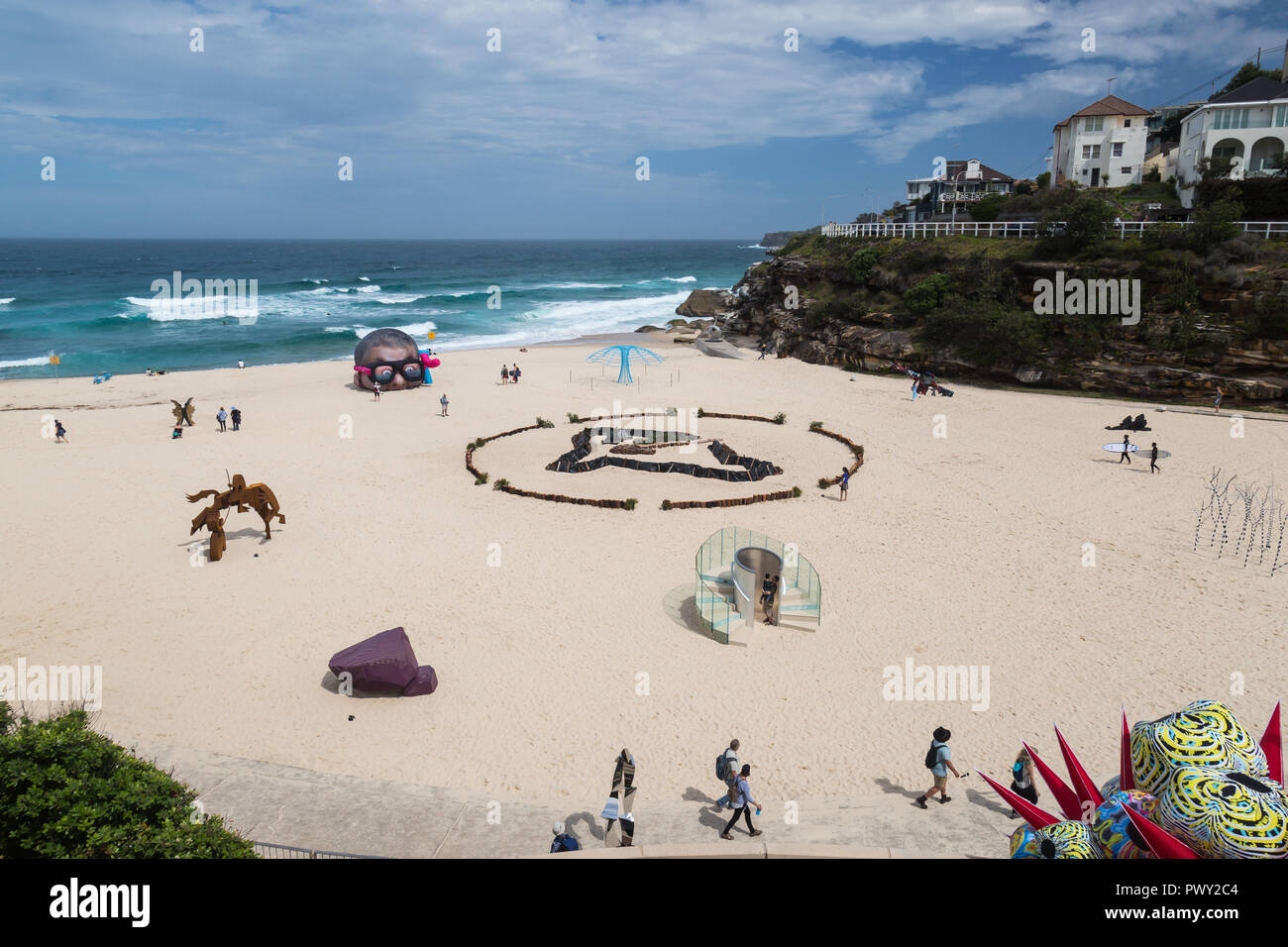 Tamarama Beach, Sydney Australia, 18th Oct 2018 Sculpture by the Sea, Tamarama Beach,the world's largest annual, free-to-the-public, outdoor sculpture exhibition, had its media launch  in Tamarama Beach Park today.  At the launch, the recipient of the Aqualand Sculpture Award, which has increased to $70,000 this year will be announced.  The launch will provide a first look at Credit: Paul Lovelace/Alamy Live News - Stock Image