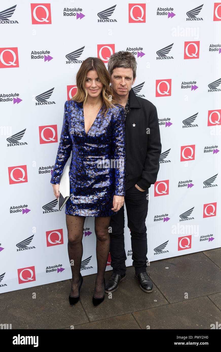 London, UK. 17th Oct 2018. The Round House Chalk Farm  London Uk 17th Oct 2018 Sara Macdonald and Noel gallagher arrive at the Q Awards 2018  in Association with Absolute Radio People In Picture: Sara Macdonald and Noel Gallagher Credit: Dean Fardell/Alamy Live News - Stock Image