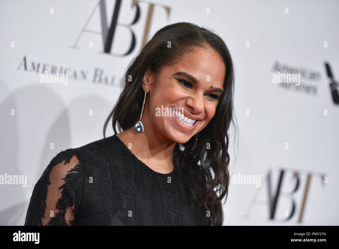 New York, USA. 17th October, 2018. Misty Copeland attends The American Ballet Theatre 2018 Fall Gala at David H. Koch Theater, Lincoln Center on October 17, 2018 in New York City. Credit: Erik Pendzich/Alamy Live News - Stock Image