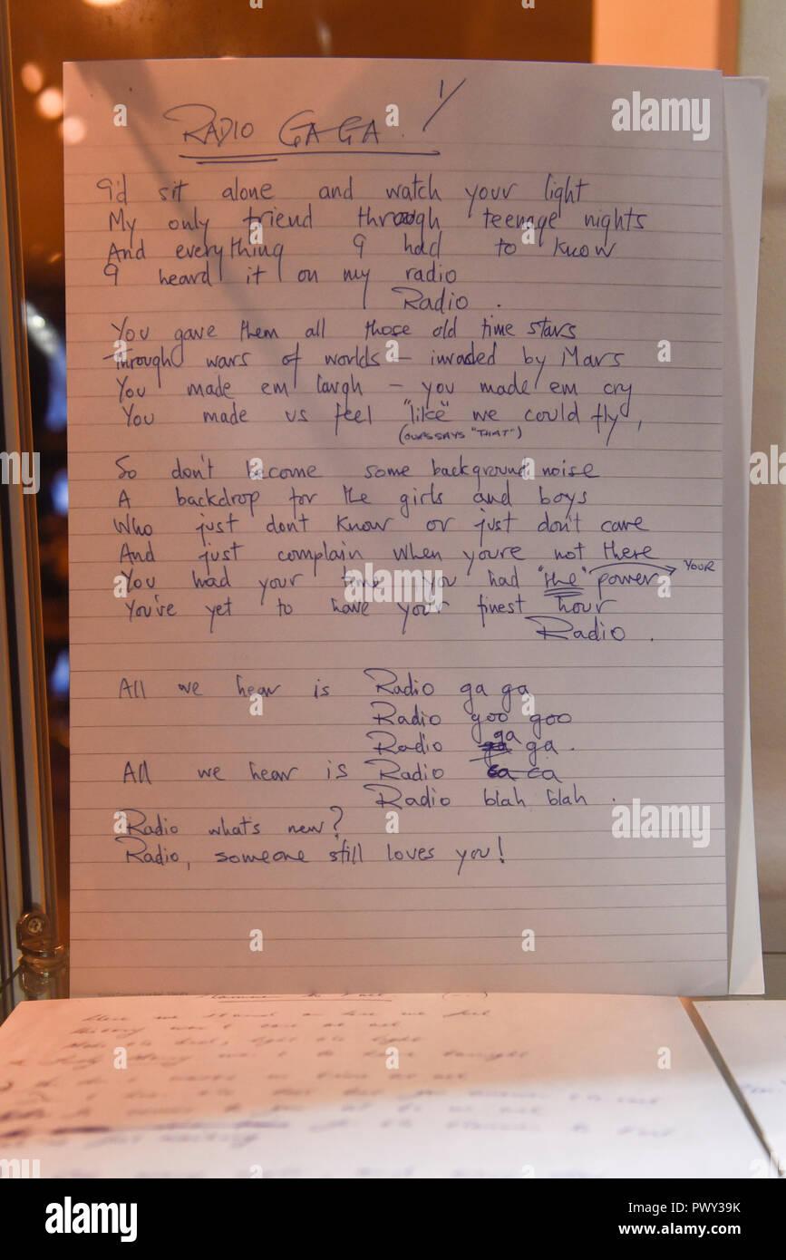 London, UK  18 October 2018  Roger Taylor's handwritten song