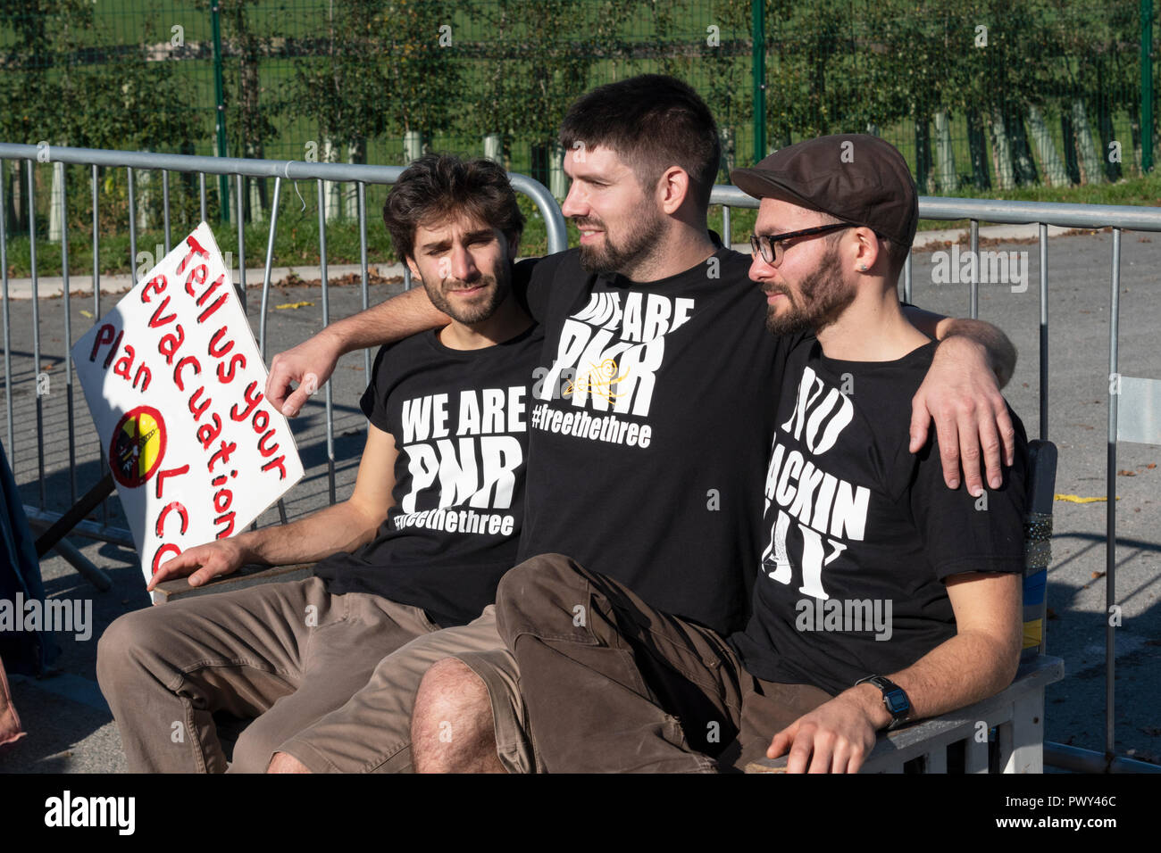 Blackpool. UK, 18th Oct. 2018. Three anti-fracking campaigners who were released from Preston jail after their successful appeal against their prison sentences visited the controversial Cuadrilla exploratory shale gas site and issued their press release to the gathered media. Credit: Dave Ellison/Alamy Live News - Stock Image