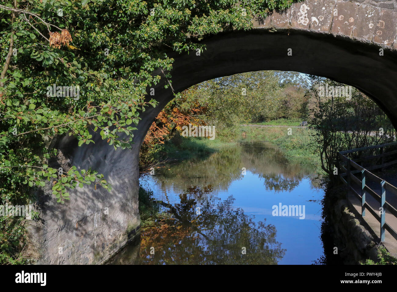 The Broadwater, Moira, Northern Ireland. 18 October 2018. UK weather - a glorious sunny day with lots of blue sky over Moira. High pressure dominates meaning little wind and great weather for out and about. Bridge over canal with Autumn colours in sunshine. Credit: David Hunter/Alamy Live News. - Stock Image