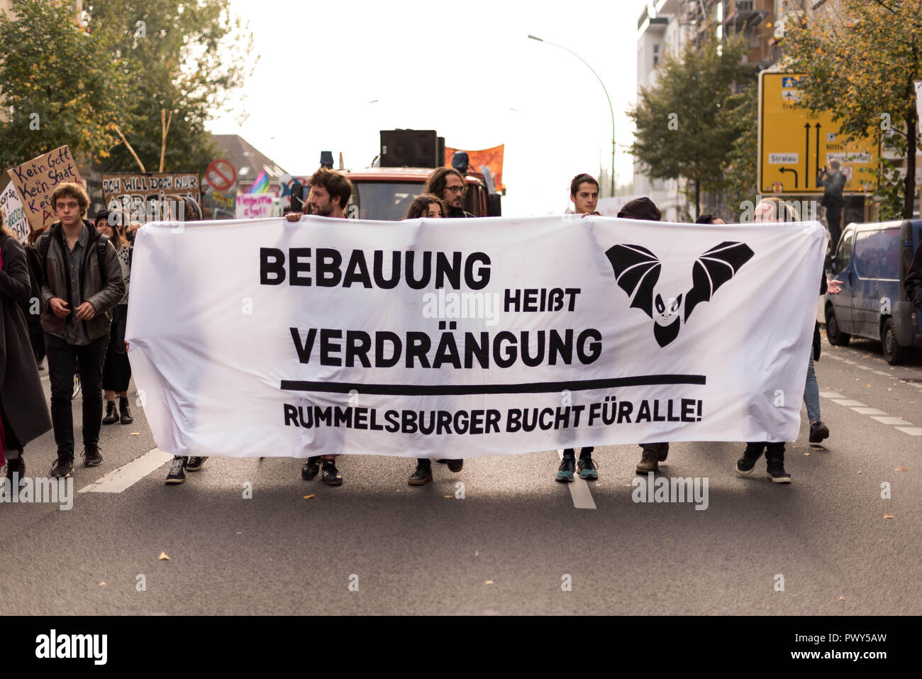 Berlin, Berlin, Germany. 18th Oct, 2018. Protesters Are Seen Holding A